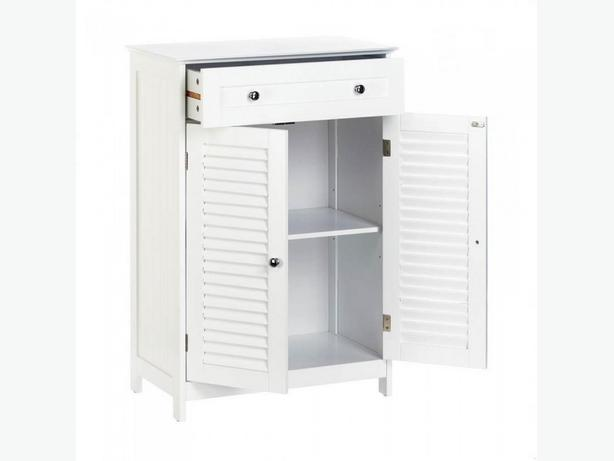 White Wood Double-Door Floor Cabinet with Drawer Brand New