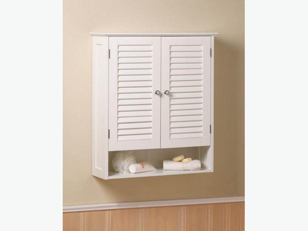 Spacesaving Double Door Wall Cabinet Cupboard with Open Display Shelf White New