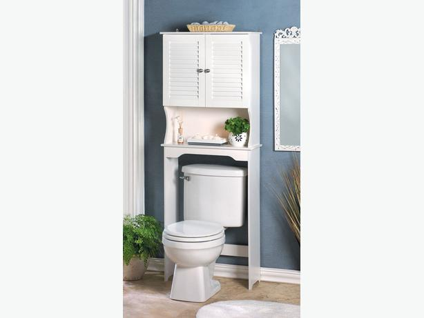White Wood Spacesaving Bathroom Over Toilet Storage Cabinet New