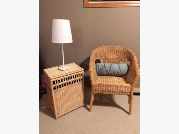 Wicker Chair and Table/Hamper