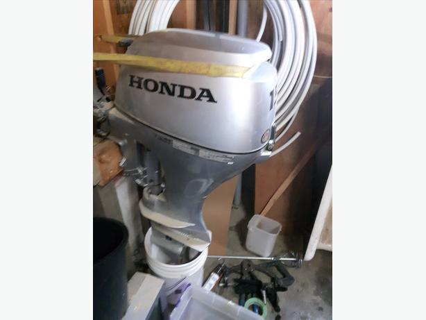 14' Aluminum boat w/trailer, w/ 15 HP Honda outboard motor