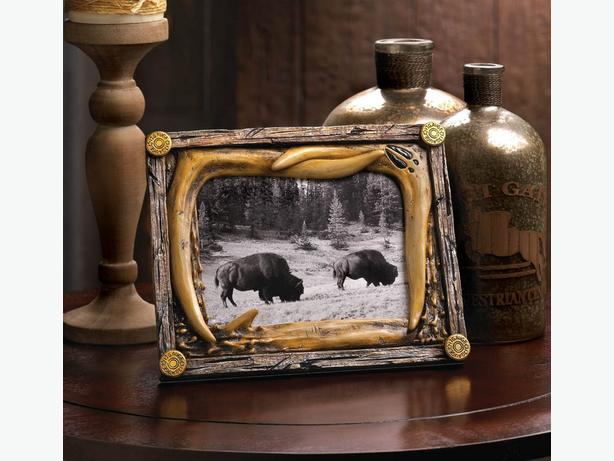 "Wood-Look Country Forest Wildlife 5X7"" Photo Picture Frame Faux Antler Trim 4Lot"
