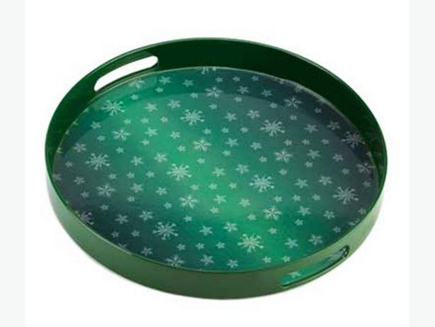 Green Snowflake Christmas Round Serving Tray Centerpiece Bulk Buy 8 Lot New