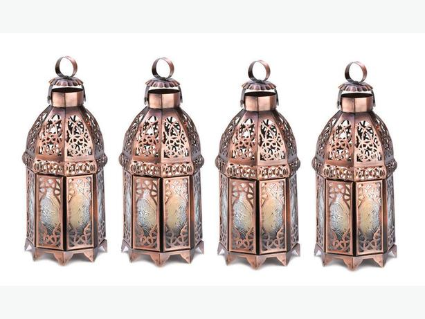 Distressed Copper Finish Candle Lantern Double-Door 4 Lot Brand New
