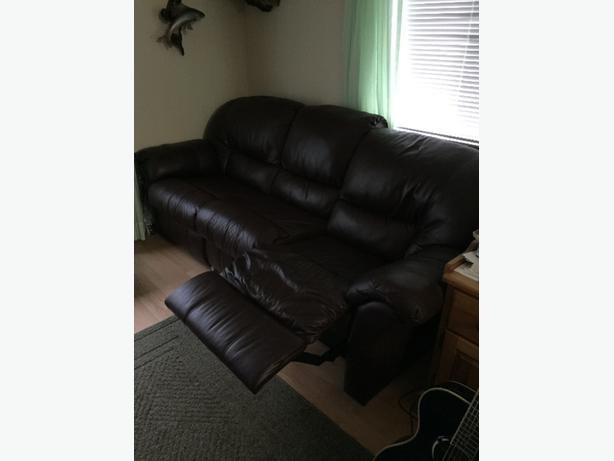 leather sofa and two recliners
