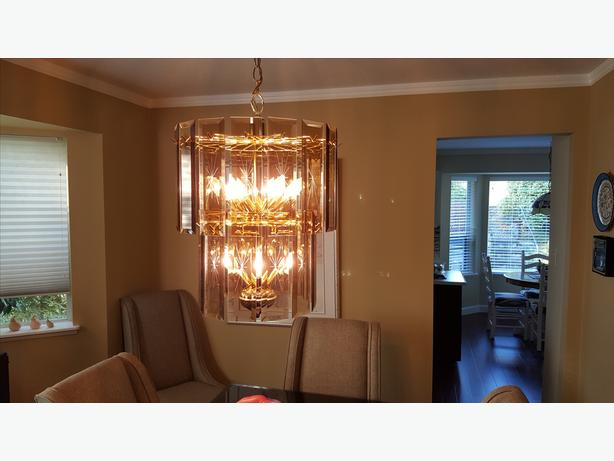 Classic brass and glass chandelier
