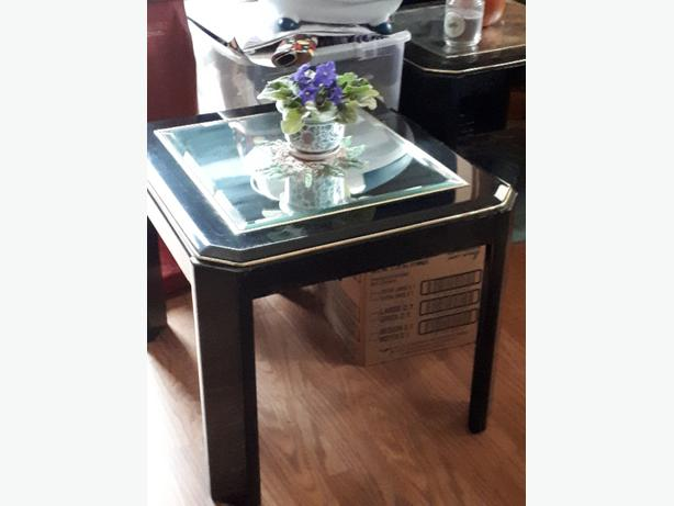 Two glass end tables