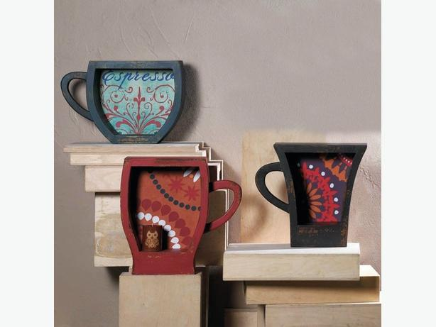 Coffee Cup Shaped Wooden Wall Shelf 3 Designs Blue Red Brown Mix&Match