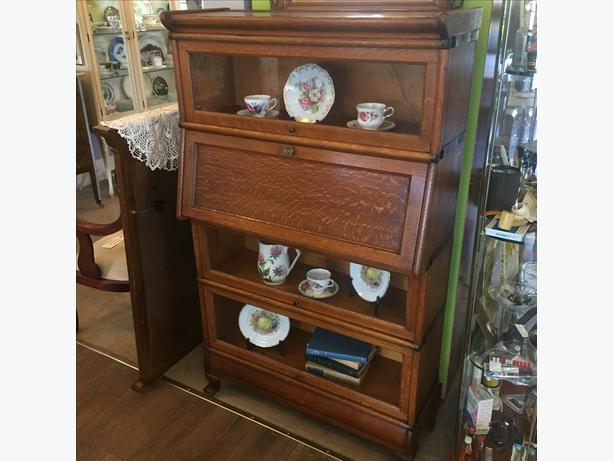 Oak Barrister Bookcase with Desk