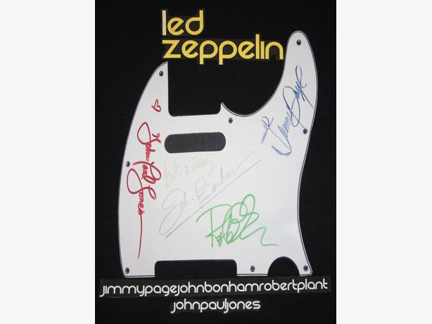 Classic Rock T Shirts Re Printed From Autographed Pick Guards & Drum Heads