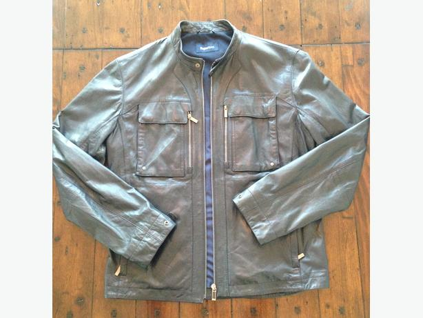 Leather Zegna Sport Racer Jacket dark blue mint condition Size M