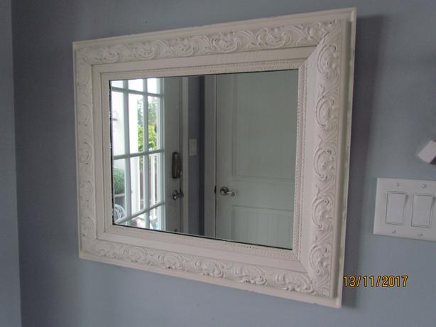 Antique Off White Distressed Wood & Plaster Mirror 25 x 29