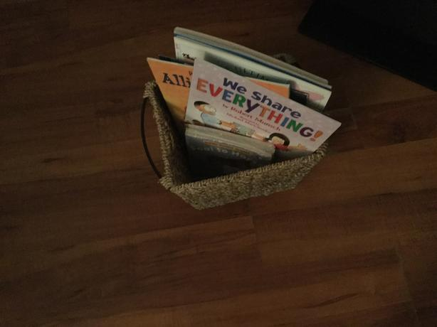 Basket of new books for a girl
