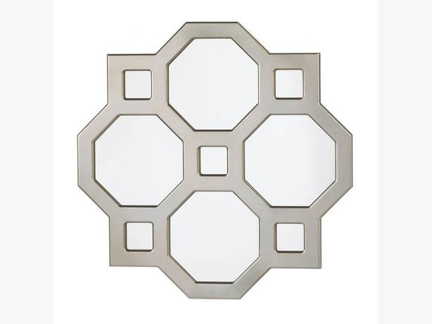 Modern Silver Geometric Wall Mirror Brand New Wood