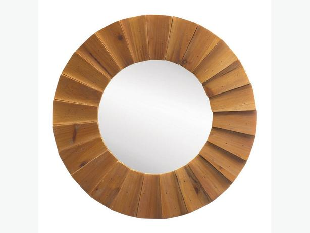 Round Sunburst-Look Wall Mirror with Rustic Brown Wood Frame Set of 2 Brand New