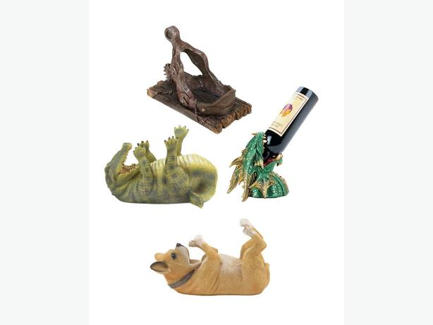 Figural Wine Bottle Holder & Electric Opener Dog Dragon Chef Shoe 2PC Mix Choice