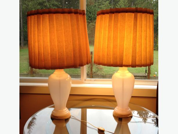 Pair Of Beautiful Antique Glass Table Lamps