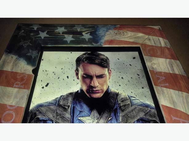 Custom Captain America character poster shadow box
