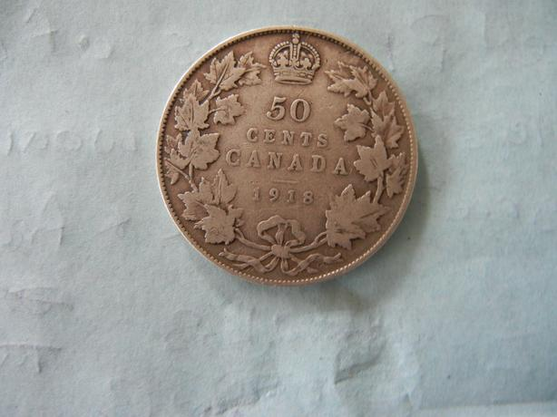1918 Canada silver fifty cent coin