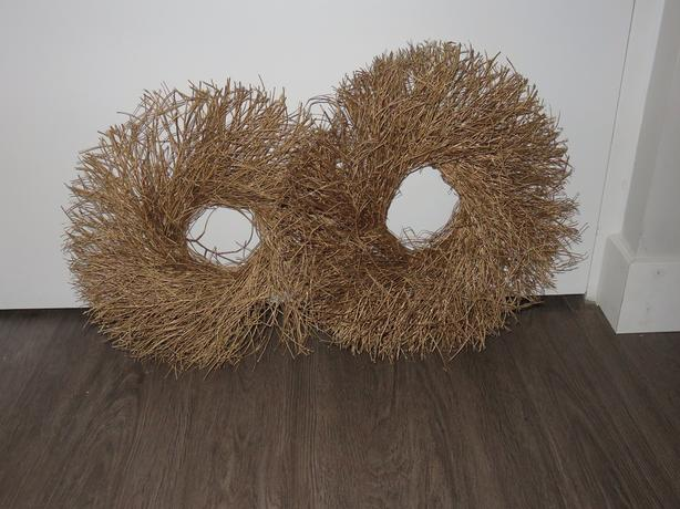 Two Gold Sprayed Branch/Twig Christmas Wreaths
