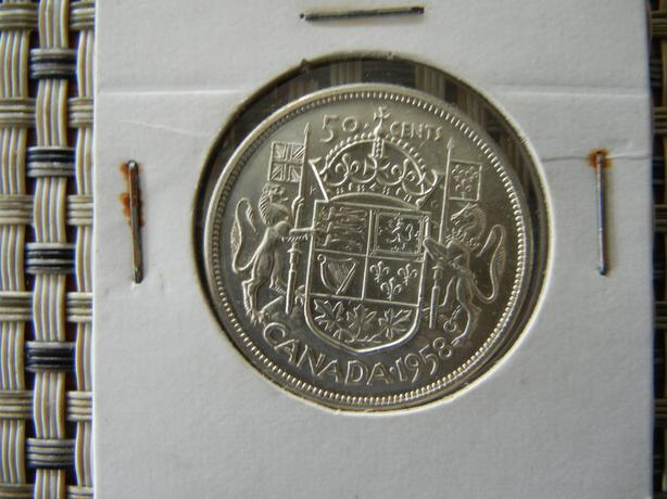1958 Canada silver fifty cent coin