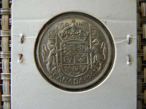 1947 S7-ND Canada silver fifty cent coin