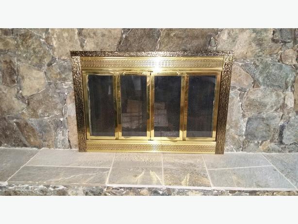Brass Glass Fireplace Doors