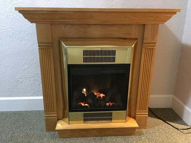 Electric fireplace and Oak Mantle