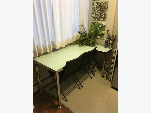 Glass/Chrome Desk set