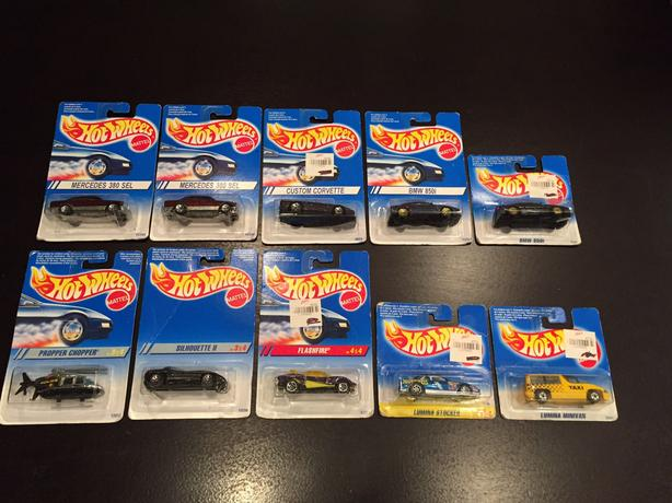 Hot Wheels 1994 & 1995 Lot Of 10 Cars Tall & Short Cards Intl Canada Vintage Lot