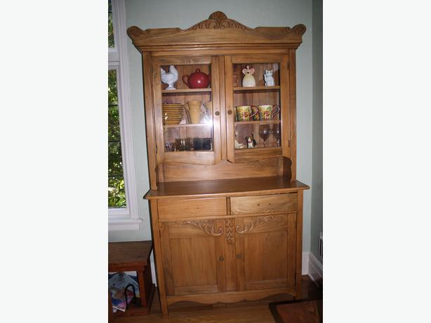 Rare solid Elm Canadiana Buffet and Hutch
