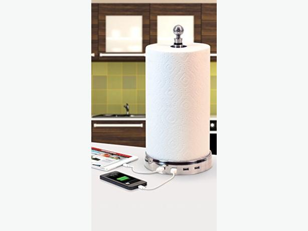 Paper towel with USB chargers and Bluetooth speakers