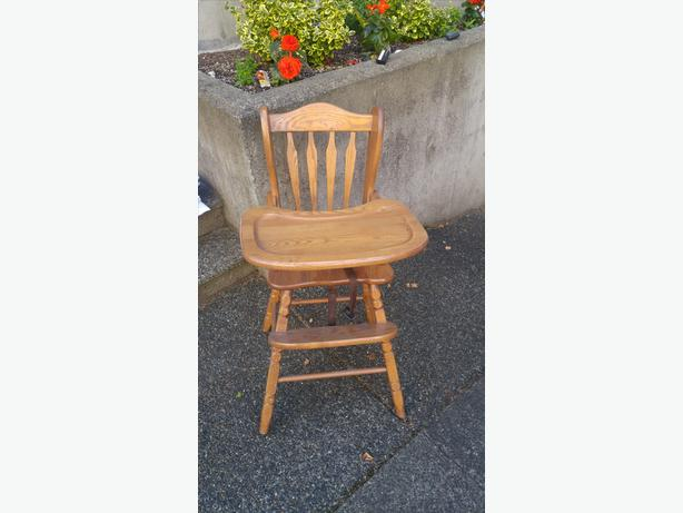 Vintage solid oak high chair