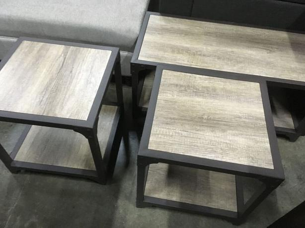 Industrial Look Metal and Laminate Coffee and End Table Set -