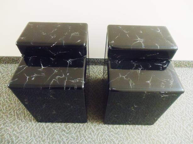 2 Side tables / Accent Stands Varese Black & White Marble Finish