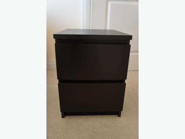 MALM 2-drawer chest, black-brown