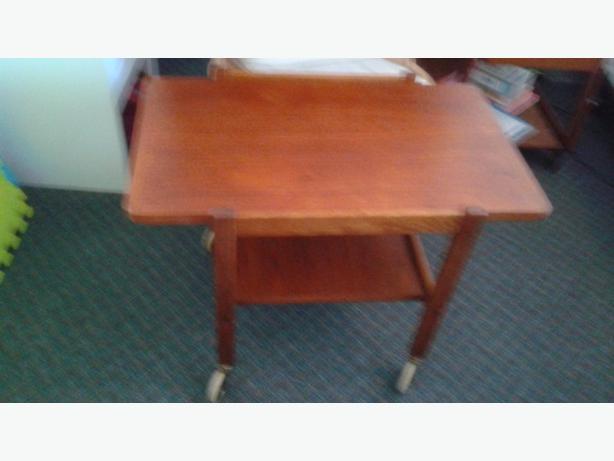 Mid Century Modern Solid Teak Cart Table