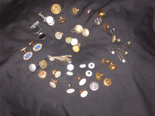 Tuxedo Vintage  Copper & Mother of Pearl ,   Cufflinks , Pins  etc.,