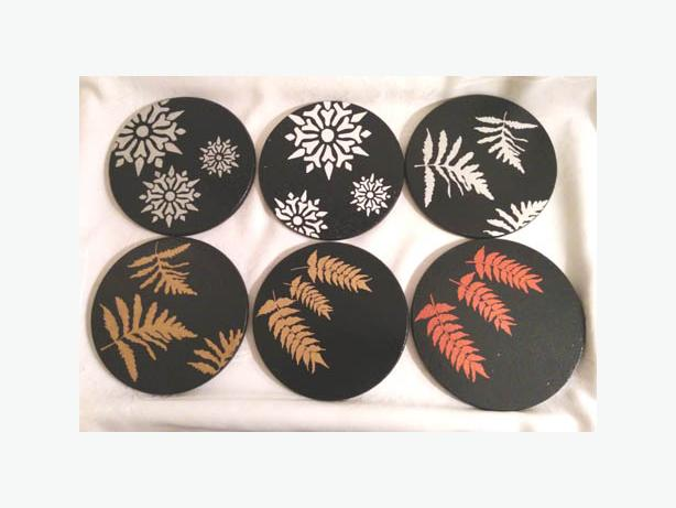 """Leaves and snowflakes Silver on Black Trivets """"Hot Pot"""" Table protector."""