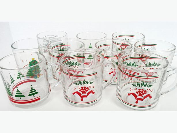 Vintage TEN Christmas Cups  for Egg Nogg, Hot Coco etc