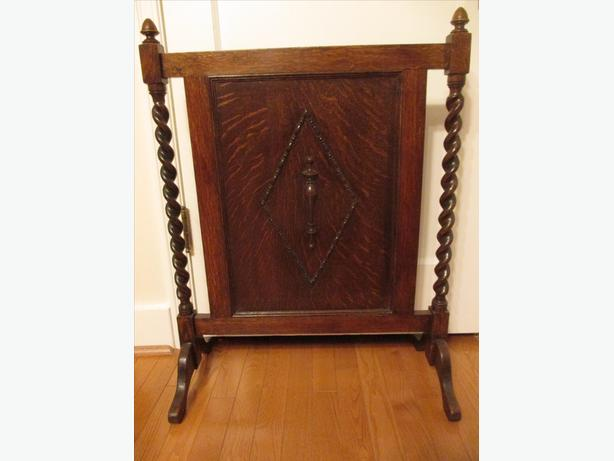 Antique English Oak Barley Twist Fireplace Screen