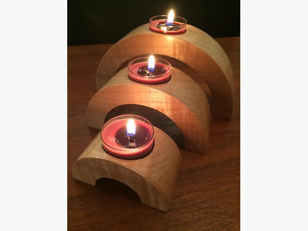 Candle holders from various hardwoods