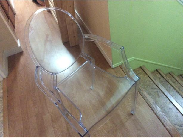 Clear plastic chair