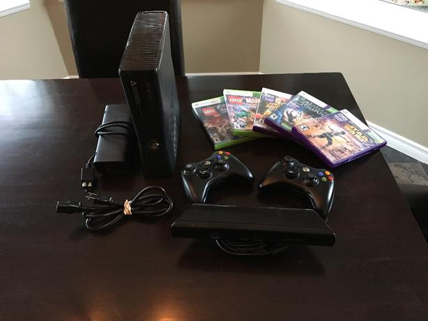 Xbox 360 with kinect and 5 games