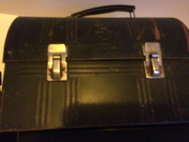 Antique Bissel Grand Rapids, tin lunch box