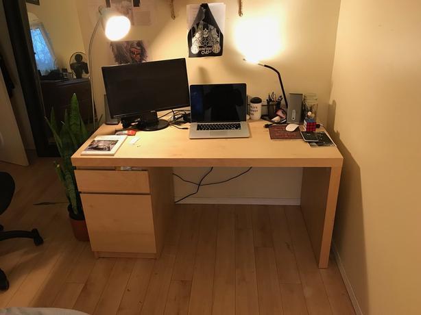Ikea MALM Desk (White Stained Oak Veneer)