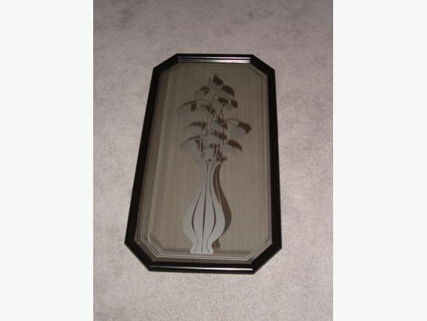 mirror black-frame , etched frosted art flower,wall