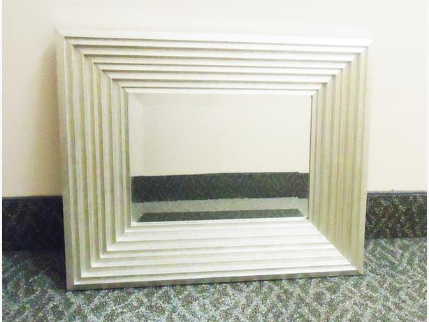 2 Silver / Pewter Square Wall Mirrors - Contemporary Design