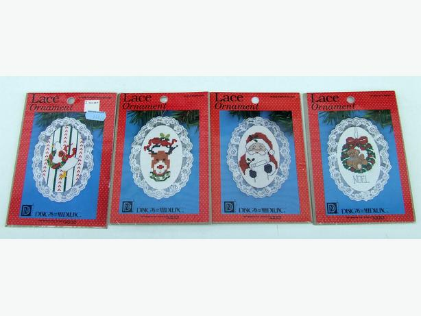 Lace Ornament Cross Stitch Kits - 4 Christmas Themes