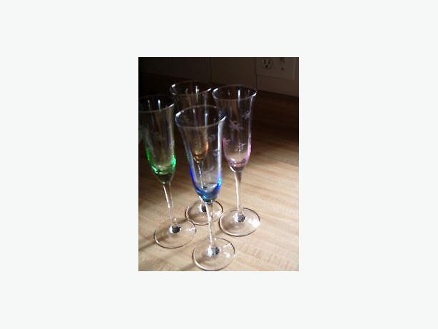 champagne ,goblet stem vintage elegant color glasses